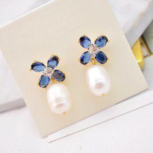 Tory Burch Delicate Blue Flower Pearl Earrings